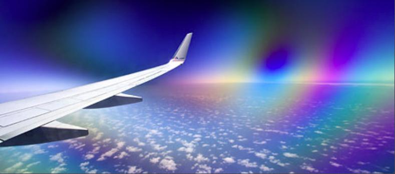 Поляризационный фильтр через окно самолета