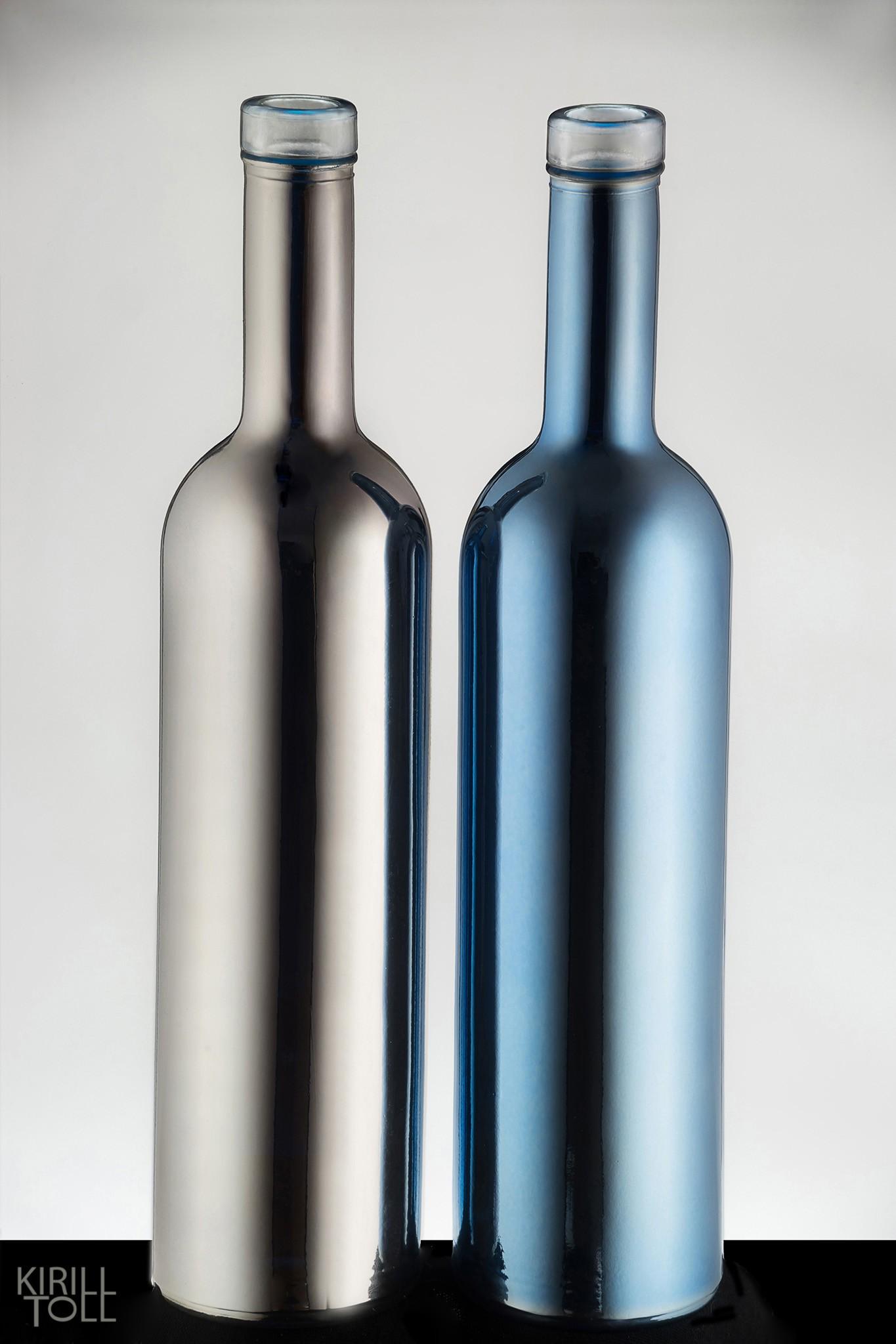 Рекламная фотосъемка бутылок. Зеркальные предметы