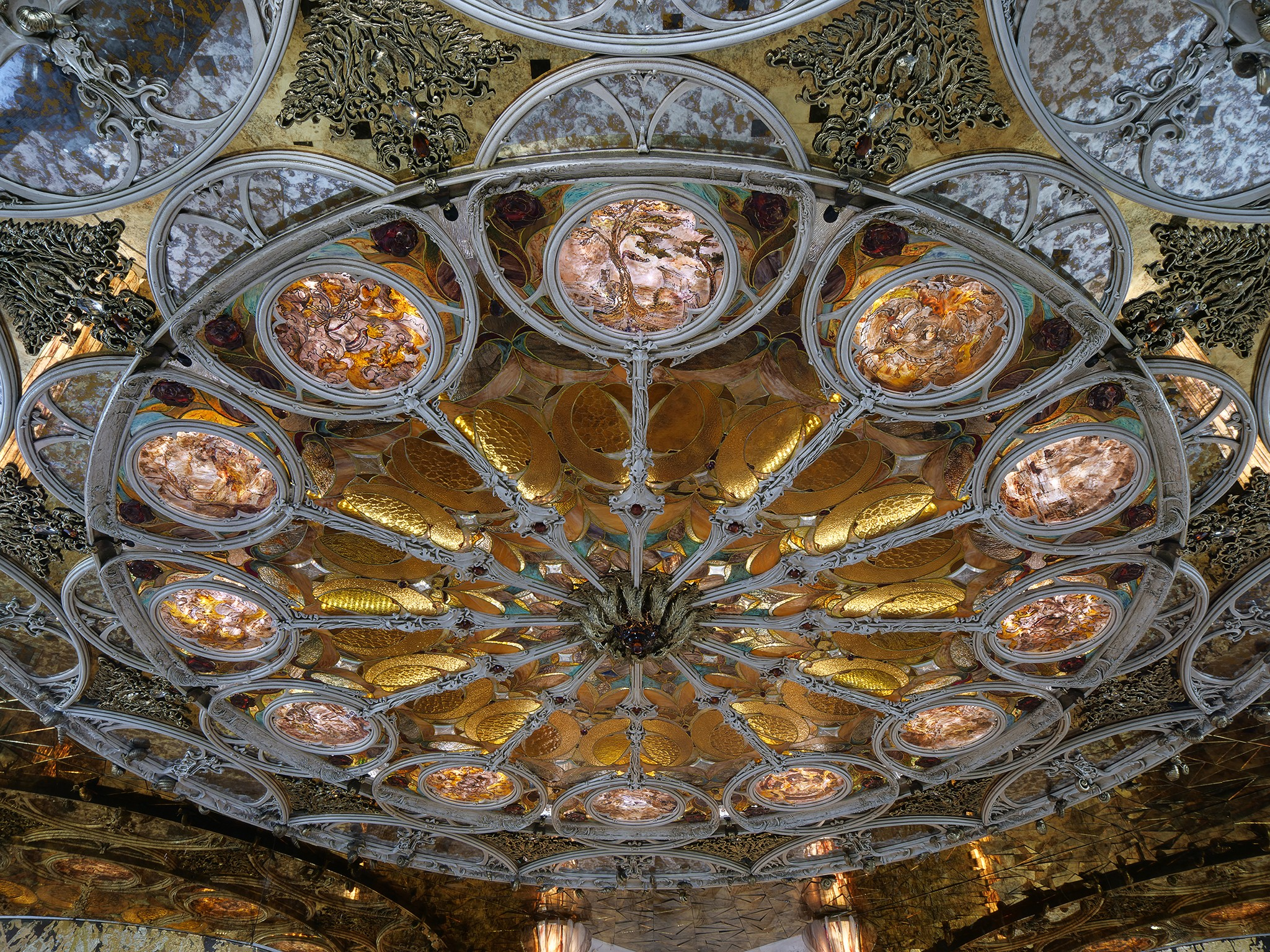 Indoor stained glass photography. Ceiling in interior photography.